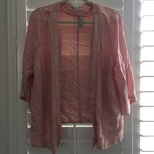 Pink Kimono w White Lace